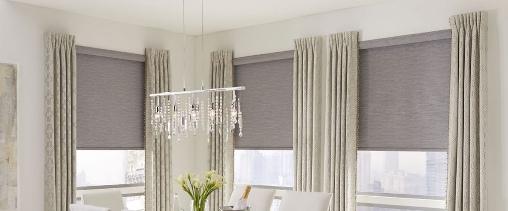 draperies and roller shades